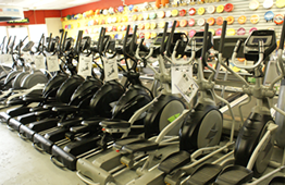 row of elliptical trainers